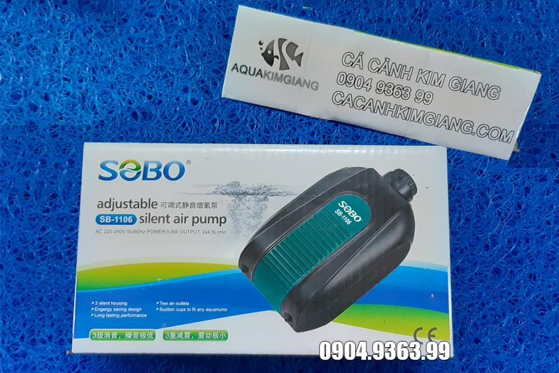 Máy sủi bọt oxi cho bể cá cảnh sobo SB 1106 2 vòi + 2 dây sủi + 2 quả sủi